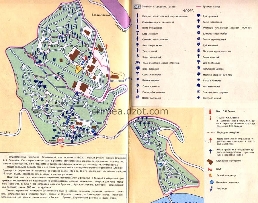 Никитский ботанический сад, карта, схема.